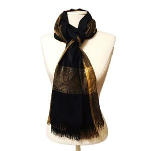 Gold and Black Print Scarf NWOT